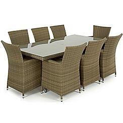 Debenhams - Light rown rattan effect 'LA' rectangular garden table and 8 chairs