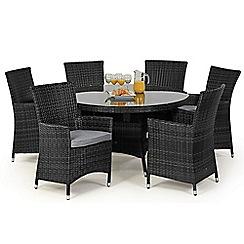 Debenhams - Grey rattan effect 'LA' round garden table and 6 chairs
