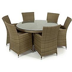 Debenhams - Light brown rattan effect 'LA' round garden table and 6 chairs