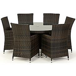 Debenhams - Brown rattan effect 'LA' round garden table and 6 chairs