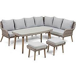 Debenhams - Light grey rattan effect 'Palmira' garden sofa, table and 2 stools
