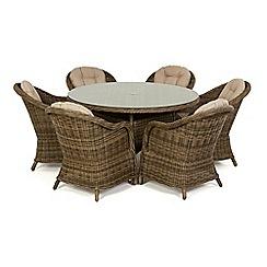 Debenhams - Light brown rattan effect 'Winchester' round garden table and 6 armchairs