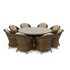 Debenhams - Light brown rattan effect 'Winchester' round garden table and 8 armchairs