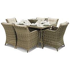 Debenhams - Light brown rattan effect 'Winchester' rectangular garden table and 6 armchairs