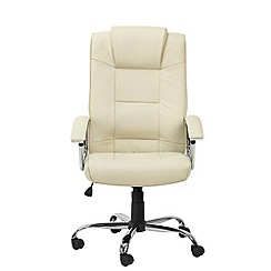 Alphason - Cream leather finished 'Houston' office chair