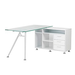 Alphason - Glass topped white 'Carolina' desk
