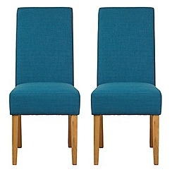 Debenhams - Pair of teal blue fabric 'Parsons' dining chairs with light wood legs