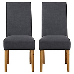 Debenhams - Pair of grey fabric 'Parsons' dining chairs with light wood legs