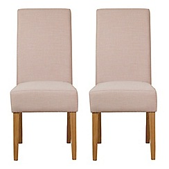 Debenhams - Pair of beige fabric 'Parsons' dining chairs with light wood legs