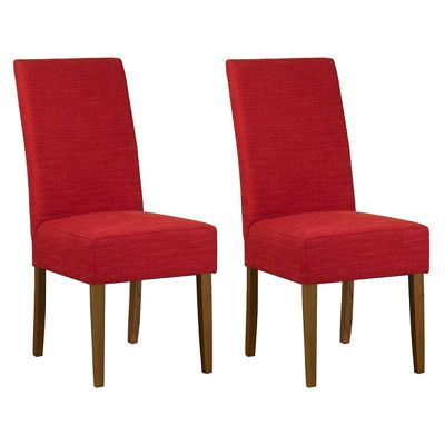 Debenhams Pair of red fabric Parsons dining chairs with