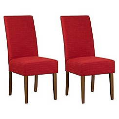 Debenhams - Pair of red fabric 'Parsons' dining chairs with dark wood legs