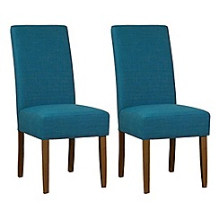 Debenhams - Pair of teal blue fabric 'Parsons' dining chairs with dark wood legs