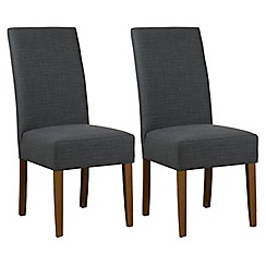Debenhams - Pair of grey fabric 'Parsons' dining chairs with dark wood legs