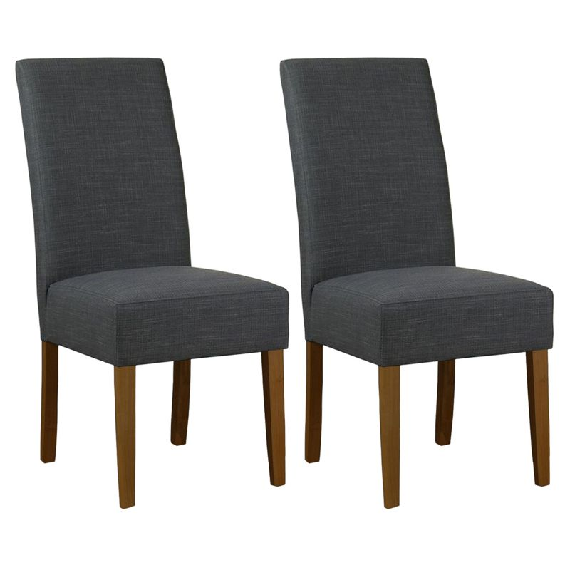 Debenhams Pair of grey fabric 'Parsons' dining chairs with dark wood legs