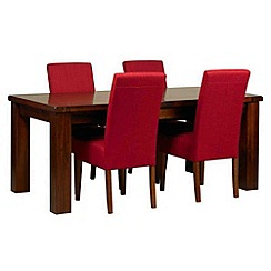 Debenhams - Acacia 'Elba' large extending table and 4 red 'Parsons' chairs