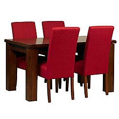 Debenhams - Acacia 'Elba' small extending table and 4 red 'Parsons' chairs