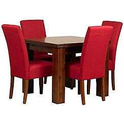 Debenhams - Acacia 'Elba' flip-top table and 4 red 'Parsons' chairs