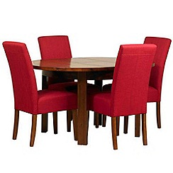 Debenhams - Acacia 'Elba' round extending table and 4 red 'Parsons' chairs