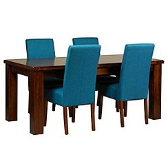 Debenhams - Acacia 'Elba' large extending table and 4 teal 'Parsons' chairs