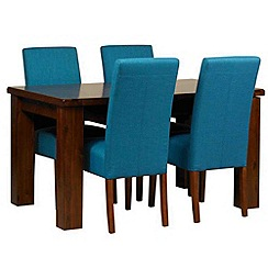 Debenhams - Acacia 'Elba' small extending table and 4 teal 'Parsons' chairs