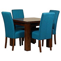 Debenhams - Acacia 'Elba' flip-top table and 4 teal 'Parsons' chairs
