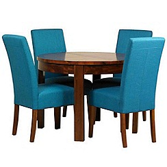 Debenhams - Acacia 'Elba' round extending table and 4 teal 'Parsons' chairs