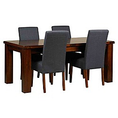 Debenhams - Acacia 'Elba' large extending table and 4 grey 'Parsons' chairs