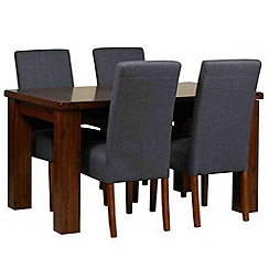 Debenhams - Acacia 'Elba' small extending table and 4 grey 'Parsons' chairs