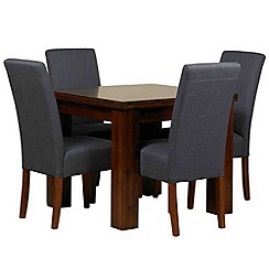 Debenhams - Acacia 'Elba' flip-top table and 4 grey 'Parsons' chairs