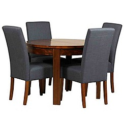 Debenhams - Acacia 'Elba' round extending table and 4 grey 'Parsons' chairs