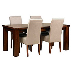 Debenhams - Acacia 'Elba' large extending table and 4 beige 'Parsons' chairs