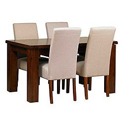 Debenhams - Acacia 'Elba' small extending table and 4 beige 'Parsons' chairs