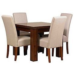 Debenhams - Acacia 'Elba' flip-top table and 4 beige 'Parsons' chairs