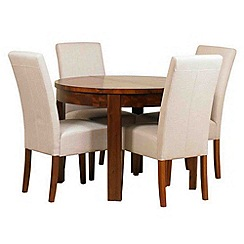 Debenhams - Acacia 'Elba' round extending table and 4 beige 'Parsons' chairs