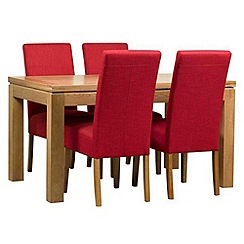 Debenhams - Oak finished 'Kent' large extending table and 4 red 'Parsons' chairs