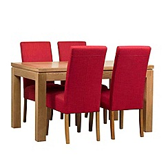 Debenhams - Oak finished 'Kent' small extending table and 4 red 'Parsons' chairs