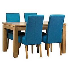 Debenhams - Oak finished 'Kent' large extending table and 4 teal 'Parsons' chairs