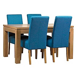 Debenhams - Oak finished 'Kent' small extending table and 4 teal 'Parsons' chairs