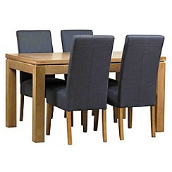 Debenhams - Oak finished 'Kent' large extending table and 4 grey 'Parsons' chairs