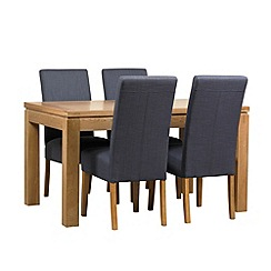 Debenhams - Oak finished 'Kent' small extending table and 4 grey 'Parsons' chairs