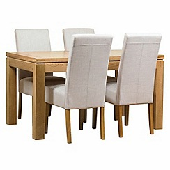 Debenhams - Oak finished 'Kent' large extending table and 4 beige 'Parsons' chairs