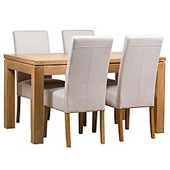 Debenhams - Oak finished 'Kent' small extending table and 4 beige 'Parsons' chairs