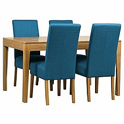 Debenhams - Oak 'Nord' extending table and 4 teal blue 'Parsons' chairs
