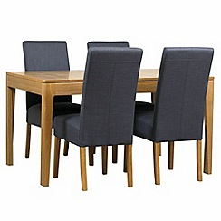 Debenhams - Oak 'Nord' extending table and 4 grey 'Parsons' chairs