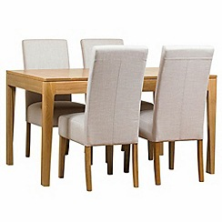 Debenhams - Oak 'Nord' extending table and 4 beige 'Parsons' chairs