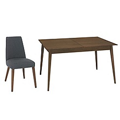 RJR.John Rocha - Walnut finished 'Eclipse' medium extending table and 6 grey woollen upholstered chairs