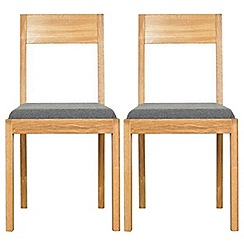 RJR.John Rocha - Pair of oak 'Elements' dining chairs with grey woollen seat pads