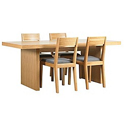RJR.John Rocha - Oak finished 'Elements' fixed-top table and 4 chairs with grey woollen seat pads