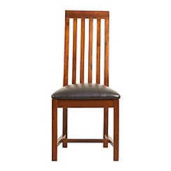 Debenhams - Pair of acacia 'Kerala' slatted back dining chairs with black seat pads