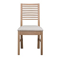 Debenhams - Pair of white-washed oak 'Nord' dining chairs with cream fabric seats
